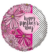 "18"" Happy Mother&#39s Day Flowers & Dots Balloon"