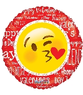 "18"" I Love You Smiley With Kiss Balloon (Valentine's Day)"