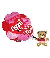"36"" I Love You Bear With Balloons Shape Balloon"