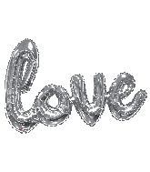"36"" Silver Love Script Shape Balloon (Airfill Only)"