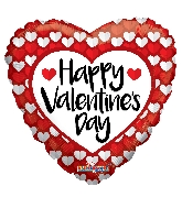 "36"" Happy Valentine's Day Red & White Hearts Balloon"