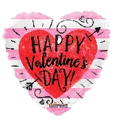 "18"" Happy Valentine&#39s Day Red Heart With Arrow Balloon"
