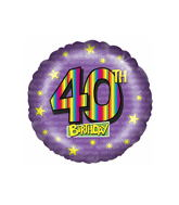 "18"" Age 40th Rainbow Birthday Balloon"