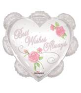 "26"" Best Wishes Ruffled Heart Roses Balloon"