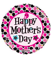 "18"" Happy Mother's Day Dots Clear View"