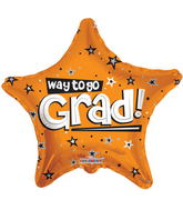 "18"" Way To Go Grad Stars Orange"