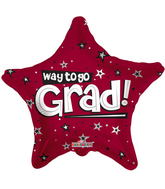 "18"" Way To Go Grad Stars Burgundy"