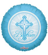 "18"" Baptism Balloon Cross Pastel Blue"