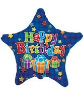 "18"" Happy Birthday Presents Royal Blue Star"
