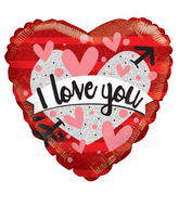 "18"" I Love You Heart & Banner Holographic"