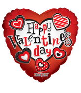 "18"" Happy Valentine's Day Balloon Modern Hearts"