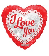 "18"" I Love You Embroidery Heart Foil Balloon"