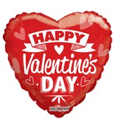 "36"" Happy Valentine&#39s Day Red & White Non Foil Balloon"
