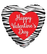 "18"" Happy Valentine's Day Zebra Pattern Non Foil Balloon"