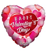 "18"" Happy Valentine&#39s Day Floating Hearts Foil Balloon"