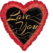 "18"" Love You Gold & Black Mylar Balloon"