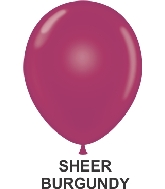 "11"" Sheer Party Style Latex Balloons (100 CT) Burgundy"
