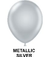 "11"" Metallic Party Style Latex Balloons (100 CT) Silver"