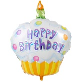 "36"" Cupcake Happy Birthday Mylar Balloon"
