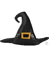 "27"" Satin Black Witch Hat Foil Balloon"