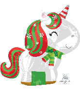 "18"" Christmas Unicorn Foil Balloon"