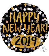 "18"" Happy New Years 2019 Gold & Silver Sparkles Foil Balloon"