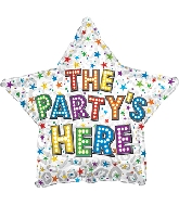 "17"" The Party&#39s Here Bright Bulbs Foil Balloon"
