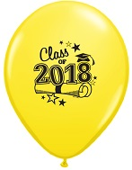 "11"" Class of 2018 Latex Balloons 50 Count Yellow"