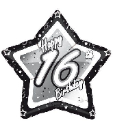 "18"" Black & Silver ""16"" Birthday Foil Balloon"