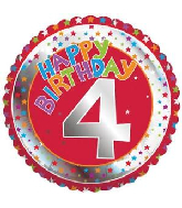 "18"" Children&#39s Milestone ""4"" Happy Birthday Foil Balloon"