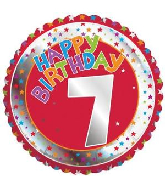 "18"" Children&#39s Milestone ""7"" Happy Birthday Foil Balloon"