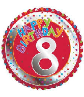 "18"" Children&#39s Milestone ""8"" Happy Birthday Foil Balloon"