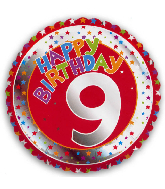 "18"" Children&#39s Milestone ""9"" Happy Birthday Foil Balloon"