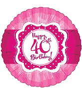 "18"" Perfect Pink ""40"" Happy Birthday Foil Balloon"