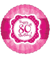 "18"" Perfect Pink ""80"" Happy Birthday Foil Balloon"