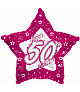 "18"" Pink & Silver ""50"" Happy Birthday Foil Balloon"