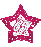 "18"" Pink & Silver ""65"" Happy Birthday Foil Balloon"