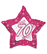 "18"" Pink & Silver ""70"" Happy Birthday Foil Balloon"