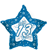 "18"" Blue & Silver ""13"" Happy Birthday Foil Balloon"