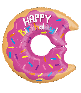 "12"" Airfill Only Birthday Donut Shape Foil Balloon"