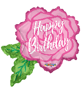 "12"" Airfill Only Birthday Rose Shape Foil Balloon"
