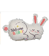 "12"" Airfill Only Welcome Baby Bunny Shape Foil Balloon"