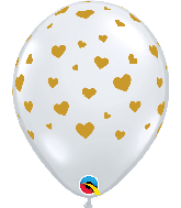 "11"" Random Hearts Diamond Clear (50 Per Bag) Latex Balloons"
