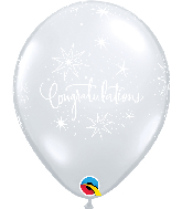 "11"" Congratulations Clear (50 Per Bag) Latex Balloons"