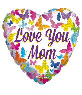 "18"" Love You Mom Butterflies Hollographic Foil Balloon"