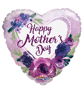 "18"" Happy Mother&#39s Day Violet Flowers Foil Balloon"