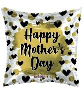 "18"" Happy Mother&#39s Day Gold & Black Hearts Foil Balloon"