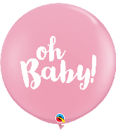 "36"" Oh Baby! Pink (2 Per Bag) Latex Balloons"