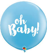 "36"" Oh Baby! Pale Blue (2 Per Bag) Latex Balloons"