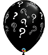 "16"" Question Marks Onyx Black (50 Per Bag) Latex Balloons"